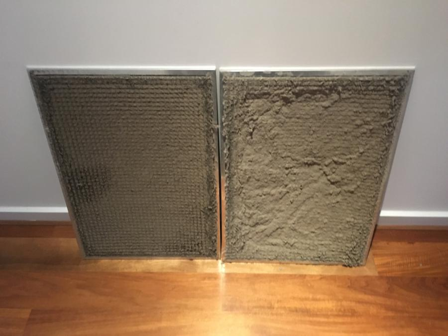 An example of dirty air conditioner filters covered in dust