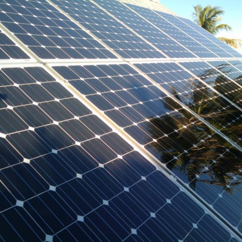 Up-close image of a residential solar installation being partially shaded by trees