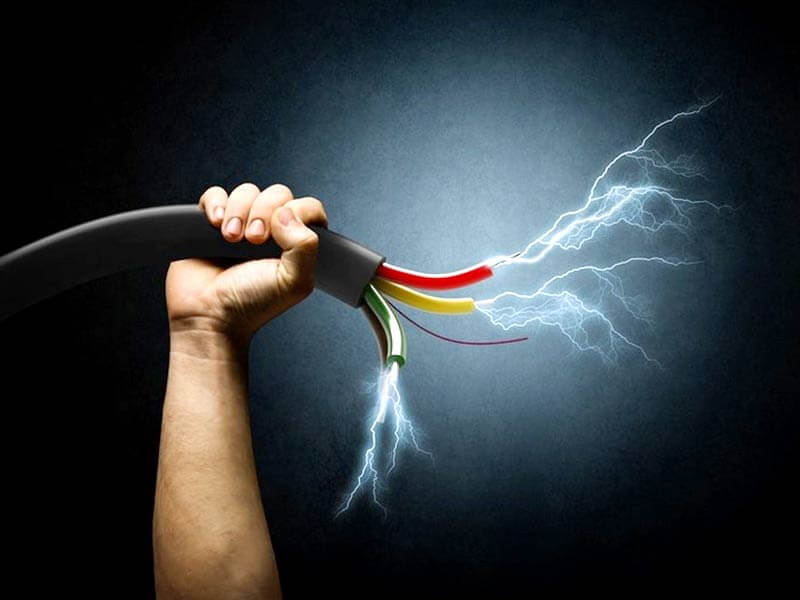 Artwork of a man holding live electrical cables