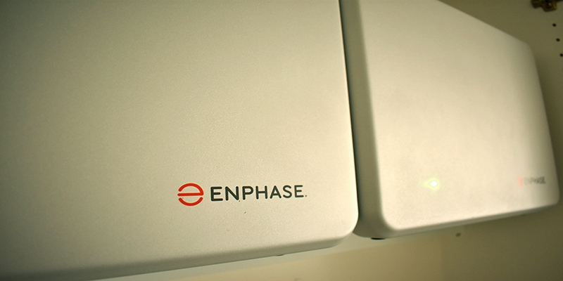 Upclose image of two Enphase solar batteries